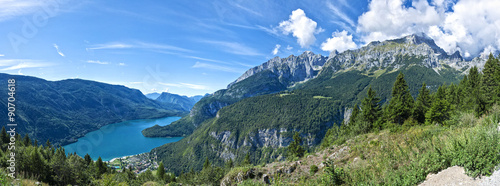 Stickers pour portes Bleu nuit Landscape of the Molveno Lake, Trentino - Italy
