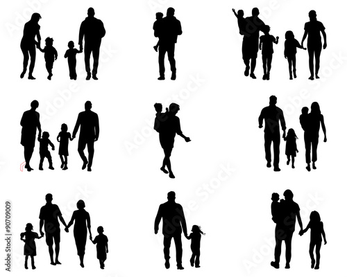 black silhouettes of families in walk vector buy this stock vector and explore similar vectors at adobe stock adobe stock silhouettes of families in walk vector
