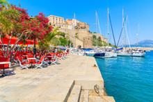 View Of Restaurant And Citadel With Houses In Calvi Port, Corsica Island, France
