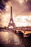 Fototapeta Wieża Eiffla - Beautiful Eiffel Tower in Paris France under golden light