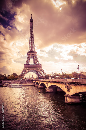 Fotografie, Obraz  Beautiful Eiffel Tower in Paris France under golden light