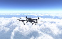 3D Drone Flying Above The Clouds
