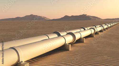 Fotografie, Obraz  Pipelines in Wüstenlandschaft