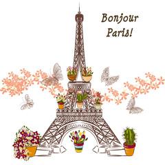 Fototapeta Do pokoju dziewczyny Vector Eiffel tower and potters fully of flowers. Boutique banne