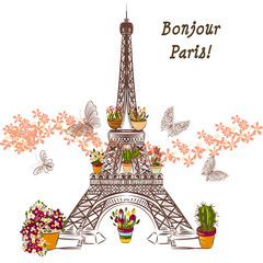 Panel Szklany Do pokoju dziewczyny Vector Eiffel tower and potters fully of flowers. Boutique banne