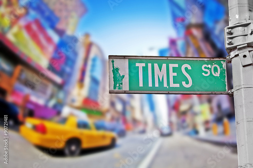 Foto op Plexiglas New York TAXI Times square sign