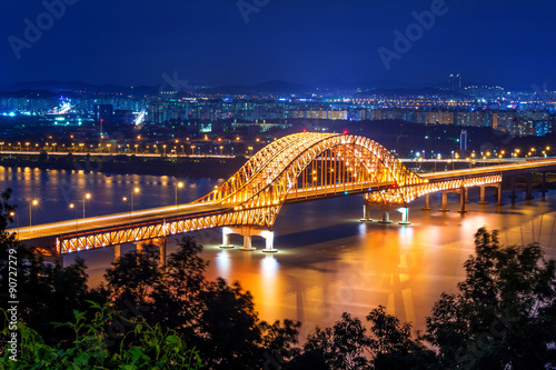 Photo  Banghwa bridge at night,Korea.