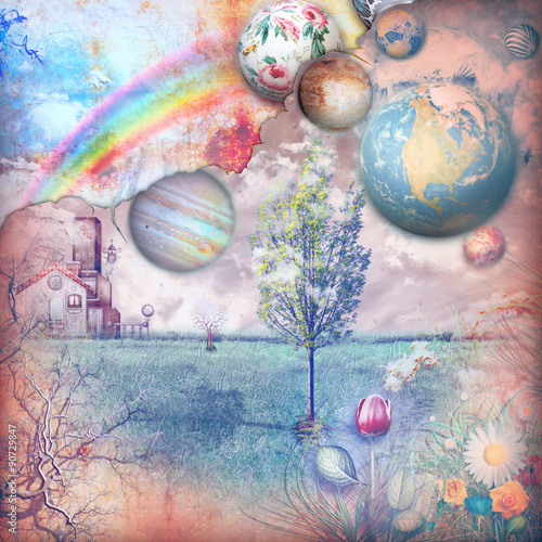 Tuinposter Imagination Enchanted farmhouse in the countryside with rainbow
