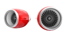 Two Jet Turbofan Engines With Red Cowl Isolated On White Background.