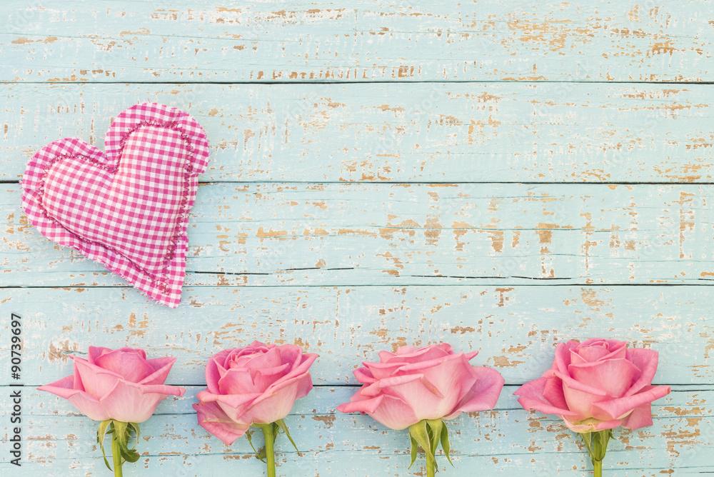 Foto-Lamellen (Lamellen ohne Schiene) - Herz Romantisch Shabby mit Rosa Rosen Karte