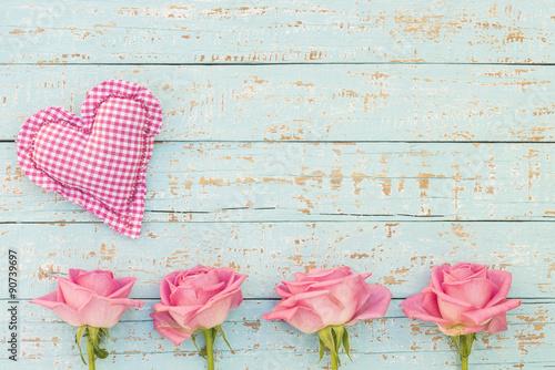 Foto-Plissee - Herz Romantisch Shabby mit Rosa Rosen Karte