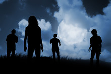 Group Of Zombie Walking At Night