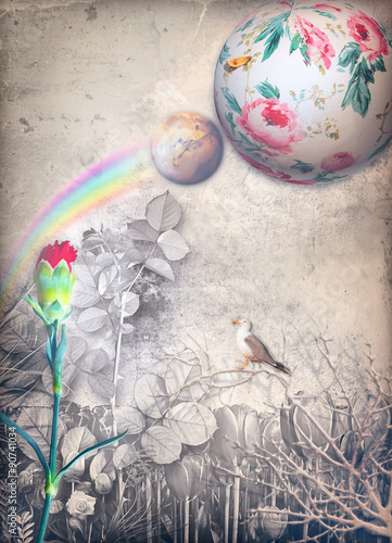 Door stickers Imagination Enchanted country with rainbow and red carnation