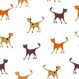 the seamless pattern with comic and funny cats.