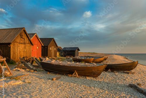 Fotomural  Fishing boats at sunrise on the island Faroe, Sweden