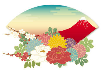 Fototapeta Sushi 赤富士山と花と扇