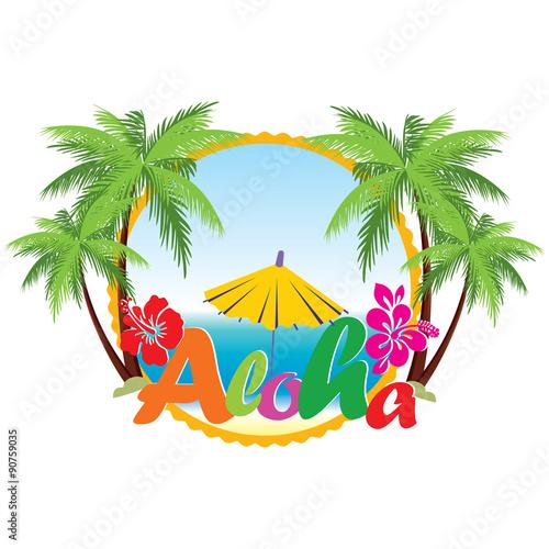 Fotobehang Draw Aloha Hawaii beach travel concept