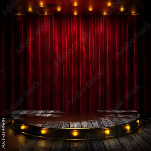 Fotografie, Tablou  red curtain stage with lights