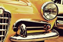 The Hood, Bumper, Headlight And Radiator Of Stylish Yellow Vinta
