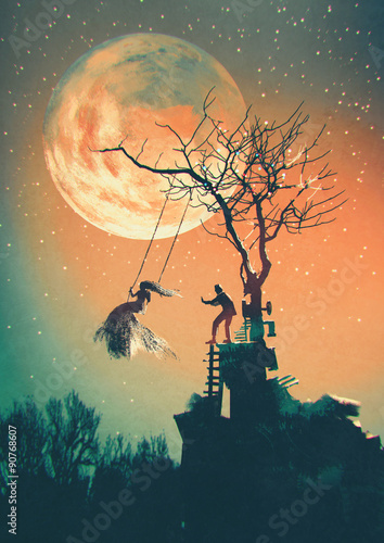 Noc Halloween tło z mężczyzną pchanie kobieta na huśtawce