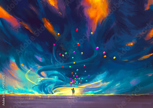 Foto op Aluminium Grandfailure child holding balloons standing in front of fantasy storm,illustration painting