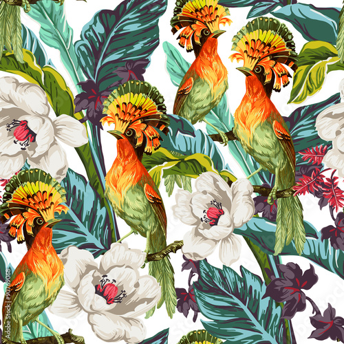 Seamless pattern with bird and exotic flowers