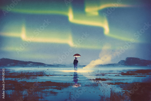 Northern lights Aurora borealis over man holding umbrella lights,illustration pa Poster