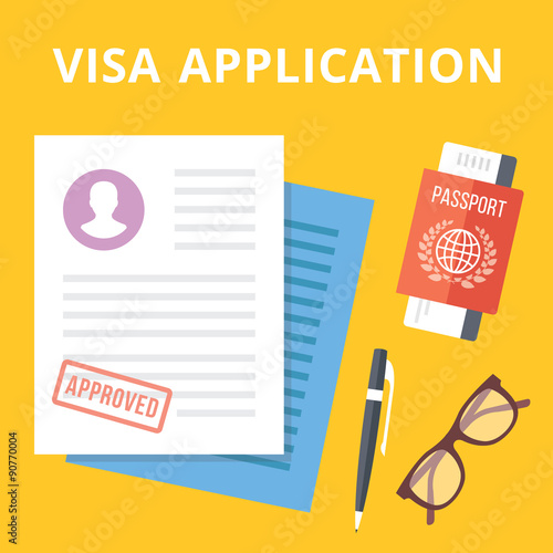 Fotografie, Obraz  Visa application flat illustration concept. Top view