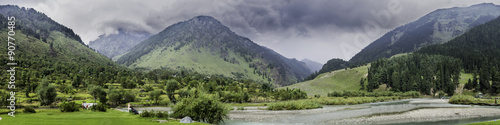 Poster Lavendel Landscape Panorama of Betaab Valley, Anantnag, Jannu and Kashmir