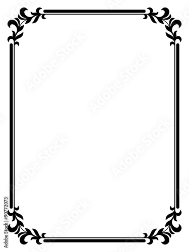 calligraphy penmanship curly baroque frame black - Buy this stock ...