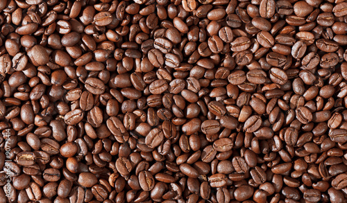 Deurstickers koffiebar Close-up of coffee beans background