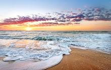 Colorful Ocean Beach Sunrise W...