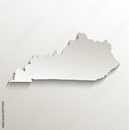 Photo Kentucky map card paper 3D natural vector
