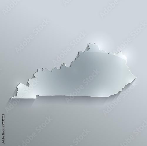 Photo Kentucky map flag glass card paper 3D vector