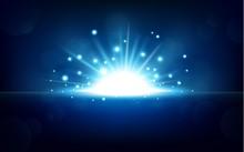 Bright Blue Light Rising From The Black Horizon