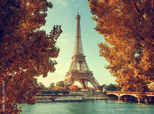 Tuinposter Eiffeltoren Seine in Paris with Eiffel tower in autumn time