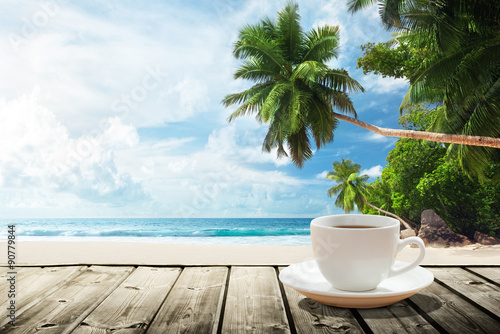Wall mural - beach and cup of coffee