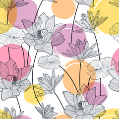 FototapetaVector seamless pattern with beautiful lotus flower and colorful