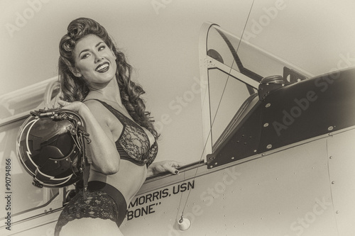 Photo  WWII Model and Airplane