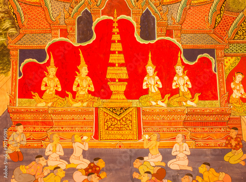 Photo  Traditional Thai art of painting