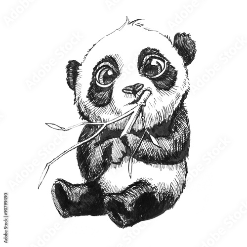 Photo  cute adorable baby panda bear illustration, hand drawn sketch of panda bear eati