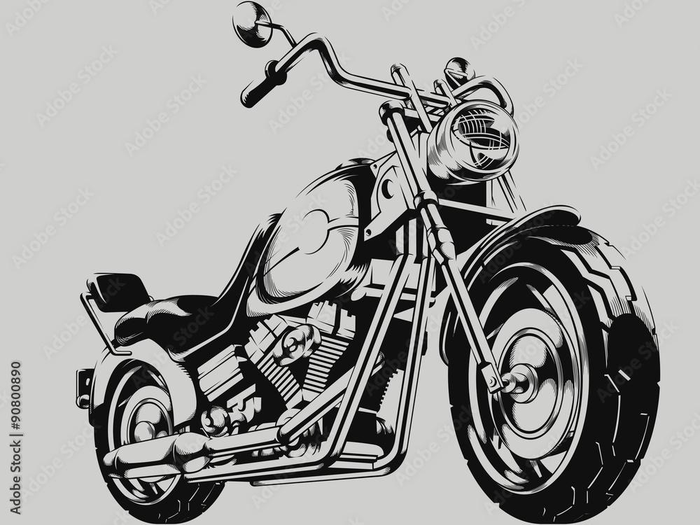 Fotografía Silueta del vector de la motocicleta del vintage ...