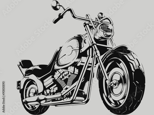 Vintage Motorcycle Vector Silhouette Canvas