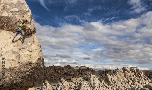 Fotografie, Obraz  Rock climber clinging to a cliff.