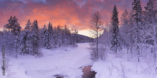 Printed kitchen splashbacks Purple Sunrise over a river in winter near Levi, Finnish Lapland