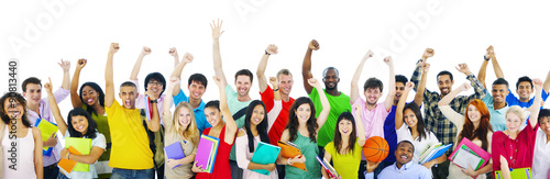 Diverse High School Students Arms Raised Concept Wallpaper Mural