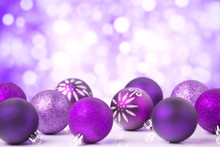 Purple Christmas Scene With Baubles