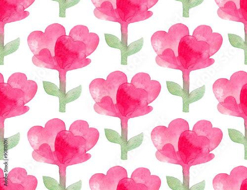 Seamless pattern with watercolor pink heart-shaped Flowers.