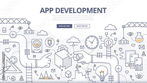 Photo  Application Development Doodle Concept