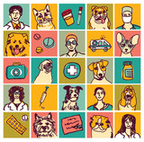 Veterinary doctors pets icons and objects set